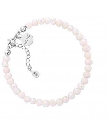 Srebrna bransoletka z pereł naturalnych