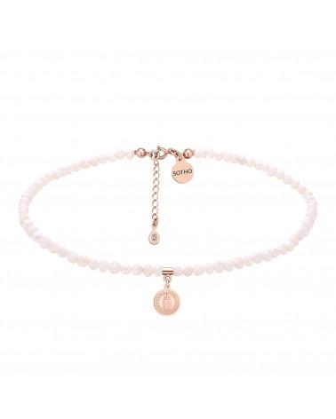Choker z pereł naturalnych z medalionem z różowego złota