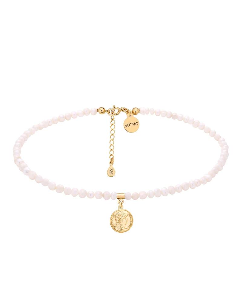 Choker z pereł naturalnych ze złotą monetą