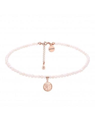 Choker z pereł naturalnych z monetą z różowego złota