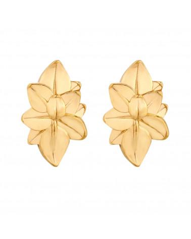 Złote kolczyki duże kwiaty