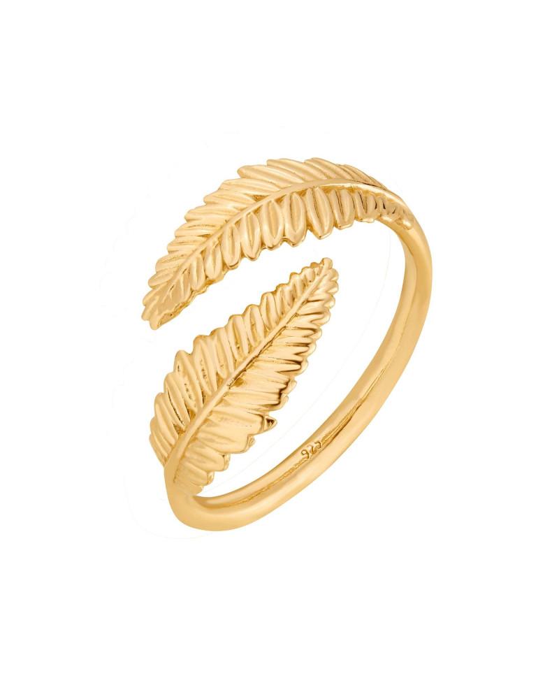 Złoty pierścionek z liśćmi laurowymi