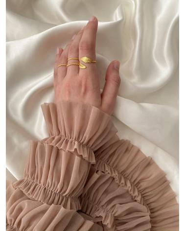 Pierścionek z liśćmi laurowymi z różowego złota