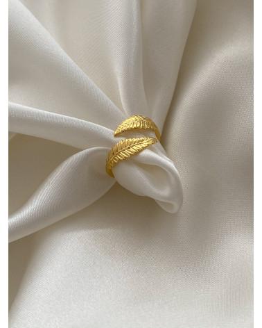 Srebrny pierścionek z liśćmi laurowymi