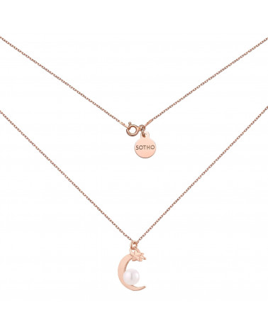 Naszyjnik z różowego złota księżycem i perłą SWAROVSKI® CRYSTAL