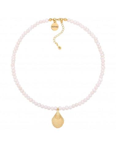 Naszyjnik z pereł naturalnych ze złotą muszlą