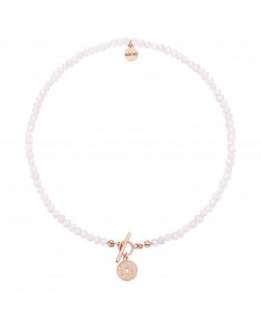 Naszyjnik z pereł naturalnych z medalionem z różowego złota