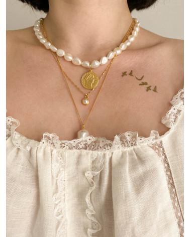 Naszyjnik z perłą z różowego złota