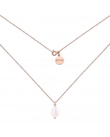 Naszyjnik z różowego złota z naturalną perłą