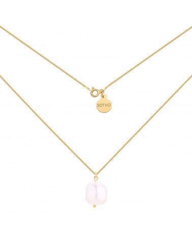 Złoty naszyjnik z nieregularną perłą SWAROVSKI® CRYSTAL