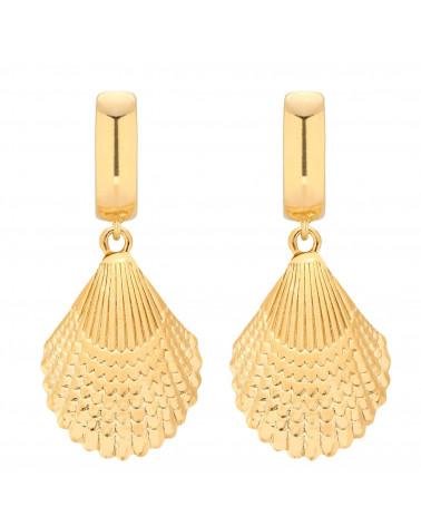 Złote kolczyki z muszlą