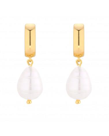 Złote kolczyki z naturalną perłą