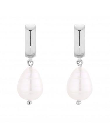 Srebrne kolczyki z naturalną perłą
