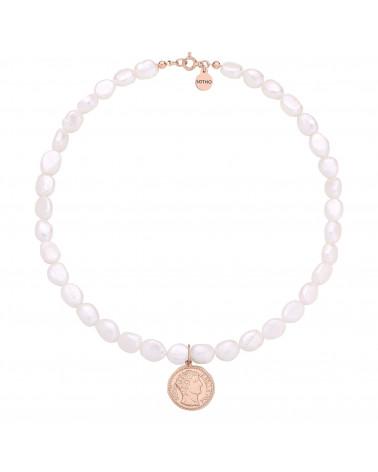 Naszyjnik z pereł naturalnych z monetą z różowego złota