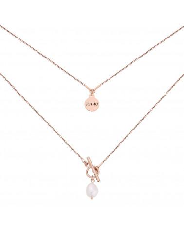 Naszyjnik z ozdobnym zapięciem i naturalną perłą z różowego złota