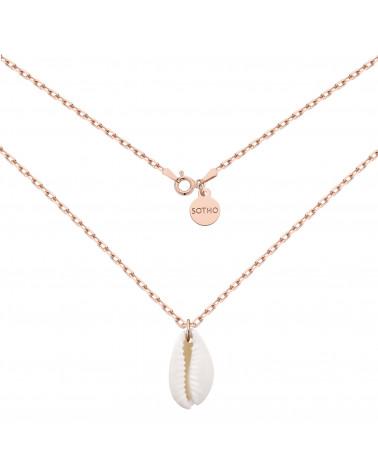 Masywny łańcuszek z muszelką z różowego złota