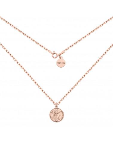 Masywny łańcuszek z monetą z różowego złota