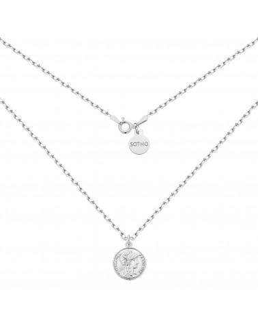 Srebrny masywny łańcuszek z monetą