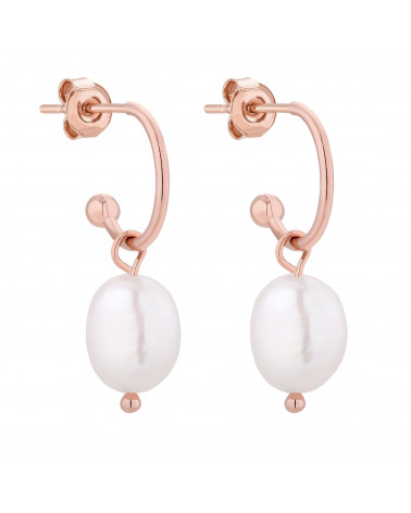Kolczyki z naturalnymi perłami z różowego złota