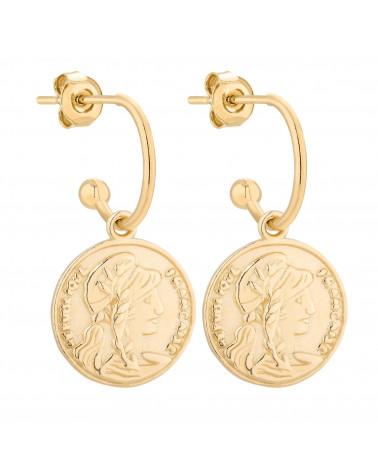 Złote kolczyki z monetą
