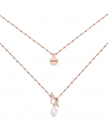 Naszyjnik kosteczkowy z ozdobnym zapięciem i perłą z różowego złota
