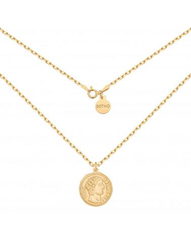 Złoty masywny łańcuszek z dużą monetą