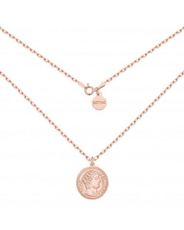 Masywny łańcuszek z różowego złota z dużą monetą