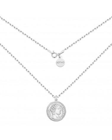 Srebrny masywny łańcuszek z dużą monetą