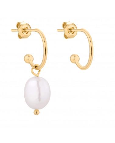 Złote asymetryczne kolczyki z naturalną perłą