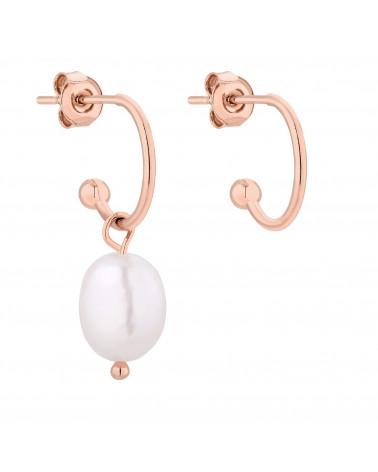 Asymetryczne kolczyki z różowego złota z naturalną perłą