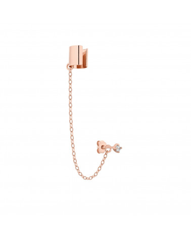 Nausznica z różowego złota z łańcuszkiem i kryształkiem SWAROVSKI® CRYSTAL