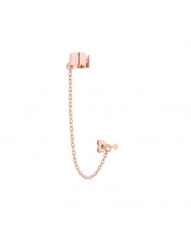 Nausznica w różowym złocie z łańcuszkiem i kulką