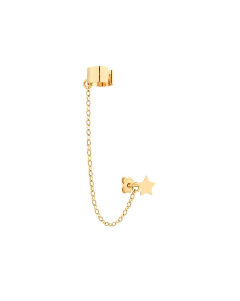 Złota nausznica z łańcuszkiem i gwiazdką