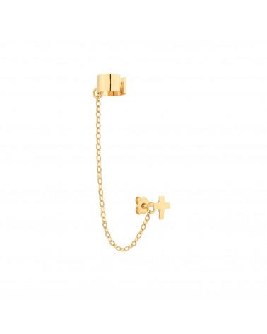 Złota nausznica z łańcuszkiem i krzyżykiem