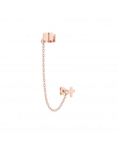 Nausznica w różowym złocie łańcuszkiem i krzyżykiem