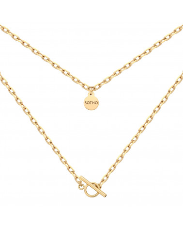 Złoty masywny łańcuszek z ozdobnym zapięciem