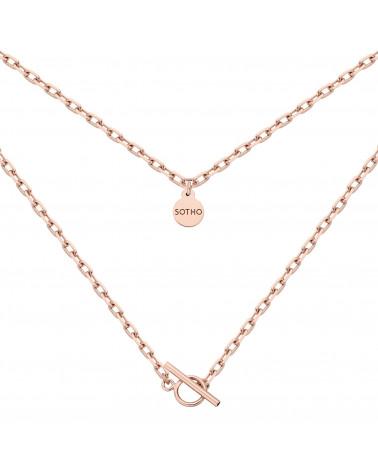 Masywny łańcuszek z różowego złota z ozdobnym zapięciem