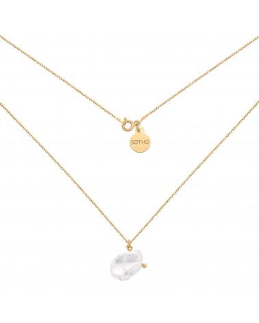 Złoty naszyjnik z nieregularną perłą