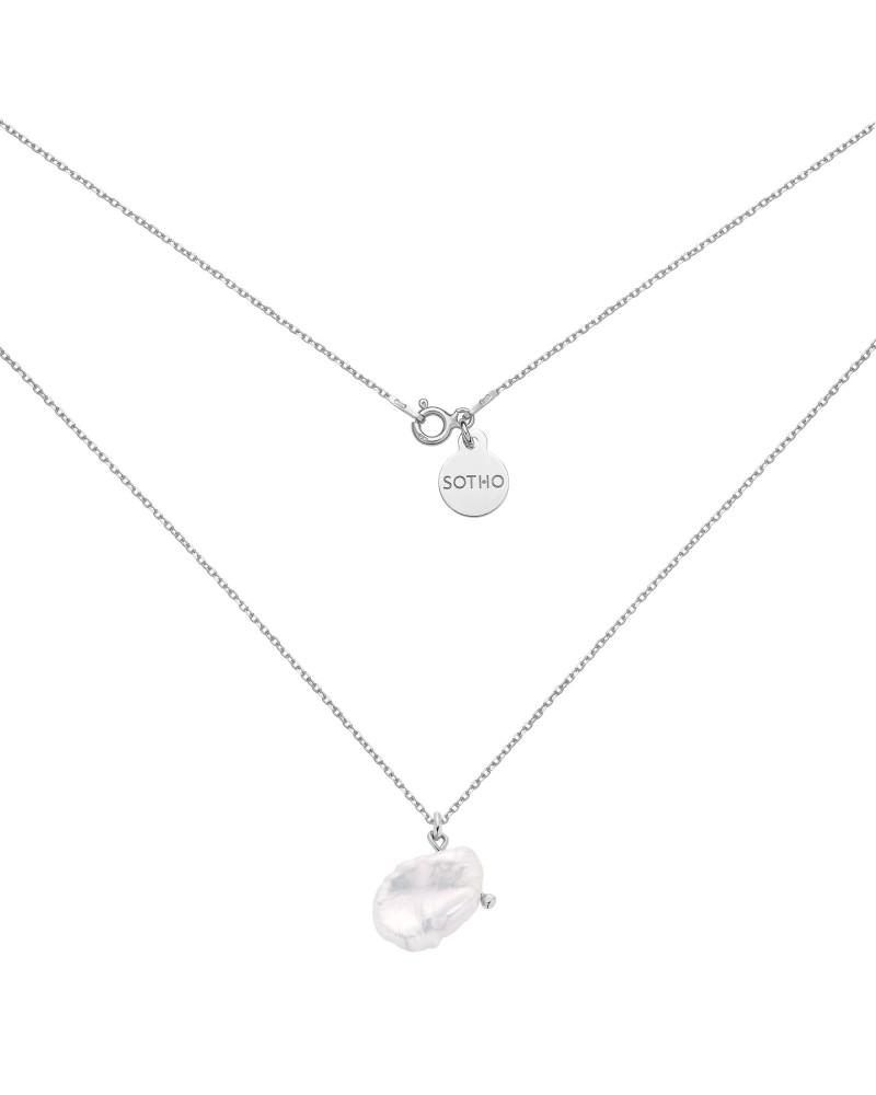 Srebrny naszyjnik z nieregularną perłą