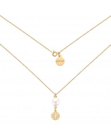 Złoty naszyjnik z rozetką i naturalną perłą