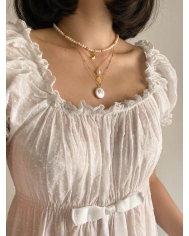 Naszyjnik z różowego złota z rozetką i naturalną perłą