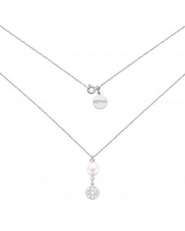Srebrny naszyjnik z rozetką i naturalną perłą