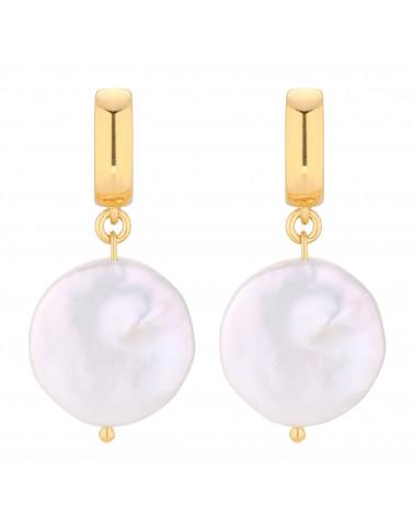 Złote kolczyki z dużymi płaskimi perłami