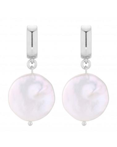 Srebrne kolczyki z dużymi płaskimi perłami