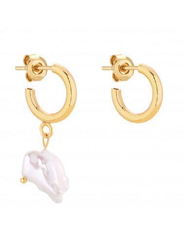 Złote asymetryczne półkola S z naturalną perłą