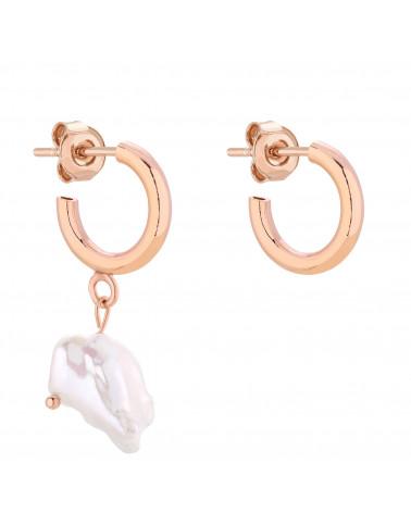 Asymetryczne półkola S z rózowego złota z naturalną perłą