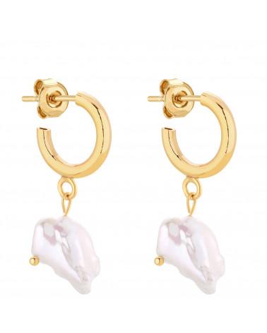 Złote półkola S z naturalnymi perłami