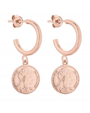 Półkola M z różowego złota z monetami