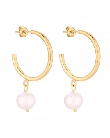 Złote półkola XL z naturalnymi perłami