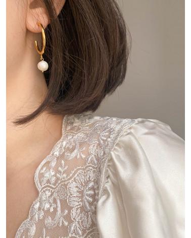 Półkola XL z różowego złota z naturalnymi perłami
